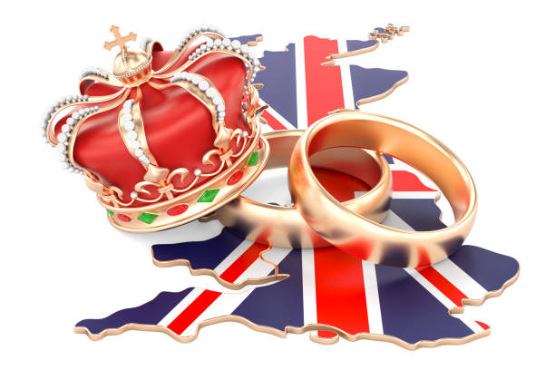 royal wedding concept. wedding rings with royal crown on the british map, 3d rendering - matrimonio reale foto e immagini stock