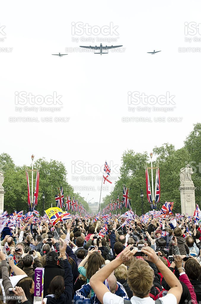 Royal Wedding RAF fly over, Buckingham Palace, London stock photo