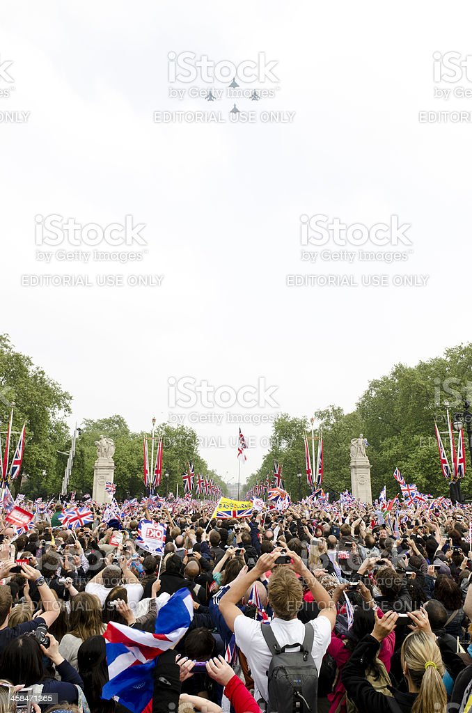 Royal Wedding RAF fly over, outside Buckingham Palace, London royalty-free stock photo