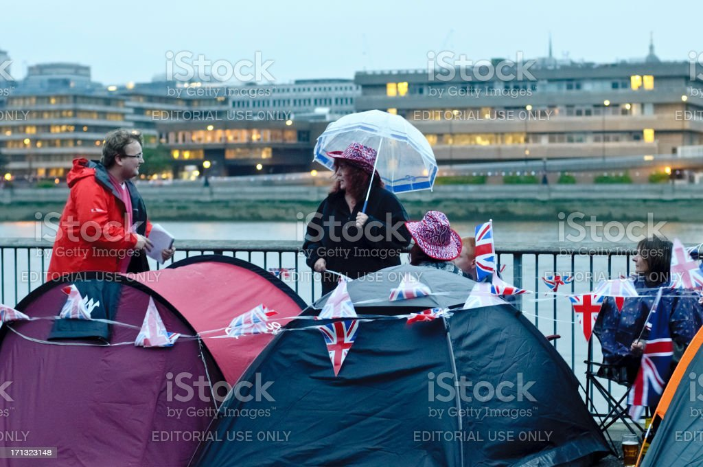 Royalists Camping Near River Thames During The Queen Diamond Jubilee stock photo