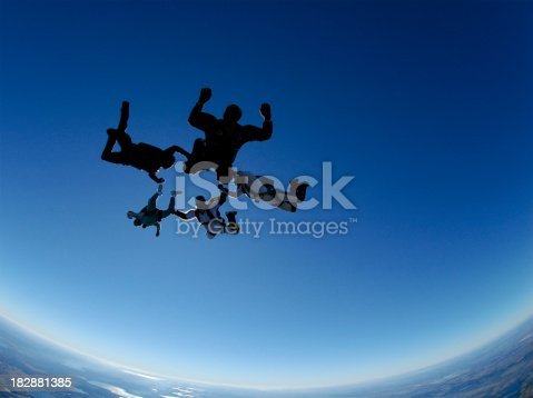 Five men in a freefall formation.  All are unrecognizable.Check out more of my skydiving images and videos.