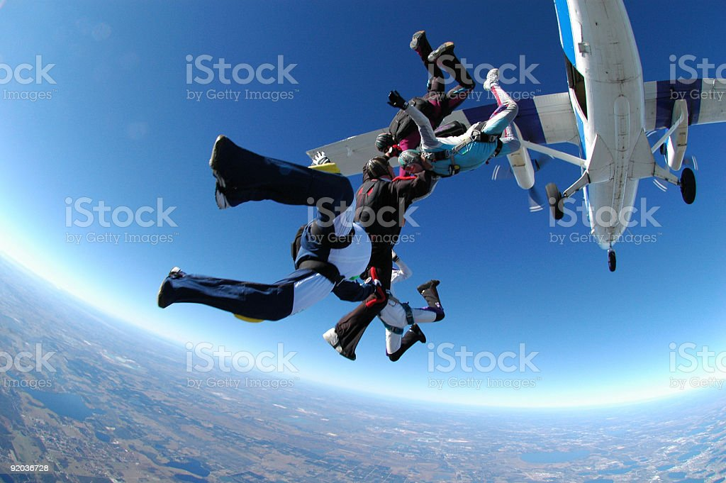 Royalty Free Stock Photo: Group Skydiving - Otter Exit royalty-free stock photo