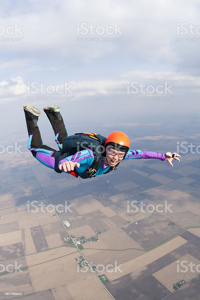 Royalty Free Stock Photo: Happy Woman Skydiving royalty-free stock photo