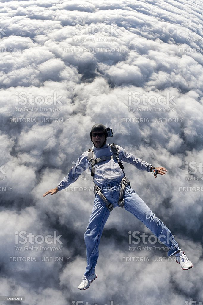 Royalty Free Stock Photo: Skydiver Above the Clouds stock photo