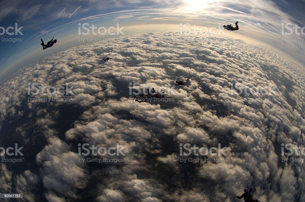 Royalty Free Stock Photo: Skydiver Silhouettes stock photo