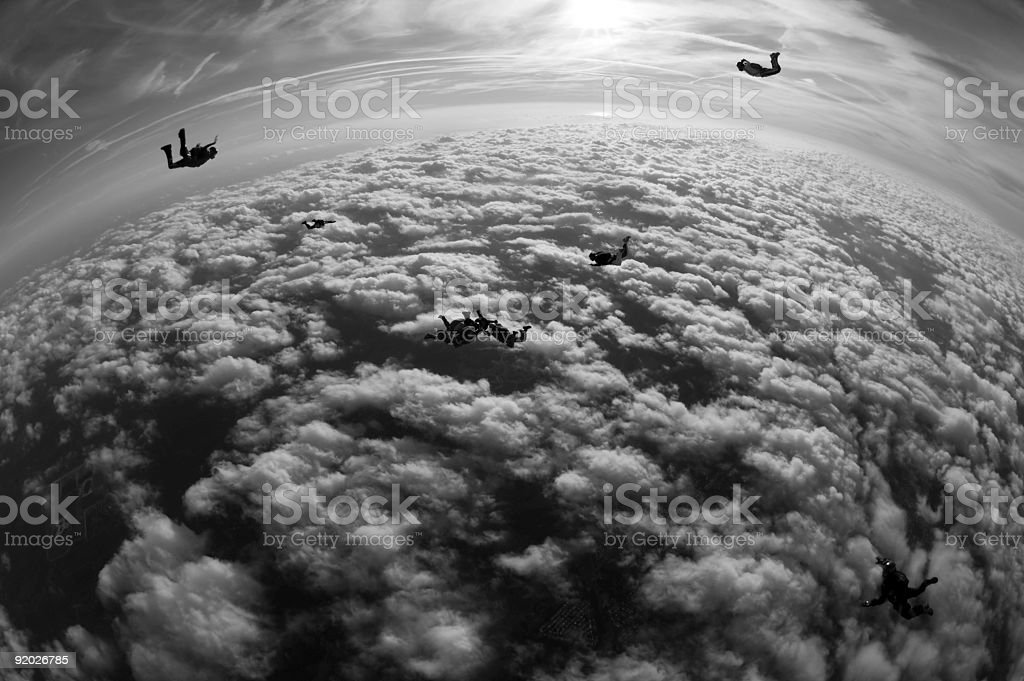 Royalty Free Stock Photo: Skydivers Silhouette stock photo