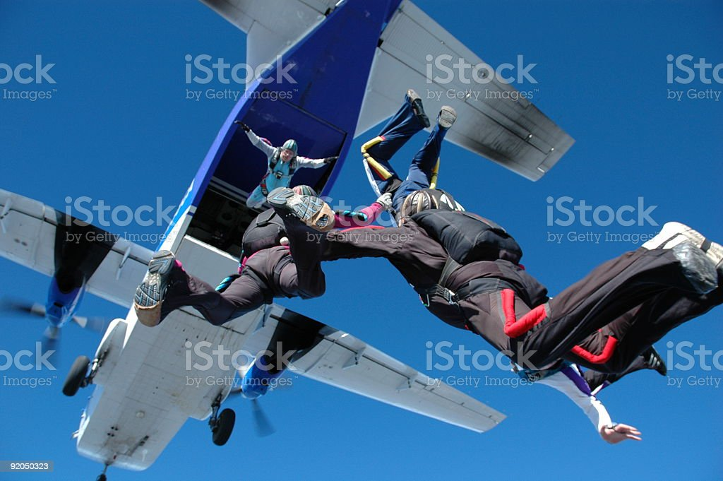 Royalty Free Stock Photo: Skydiving Teamwork - Casa Exit royalty-free stock photo