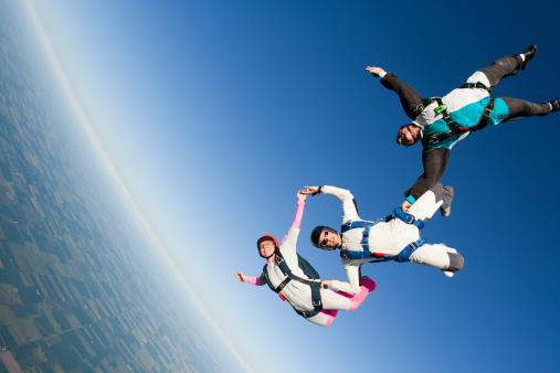 Three skydivers in formation in freefallCheck out more of my skydiving images and videos.