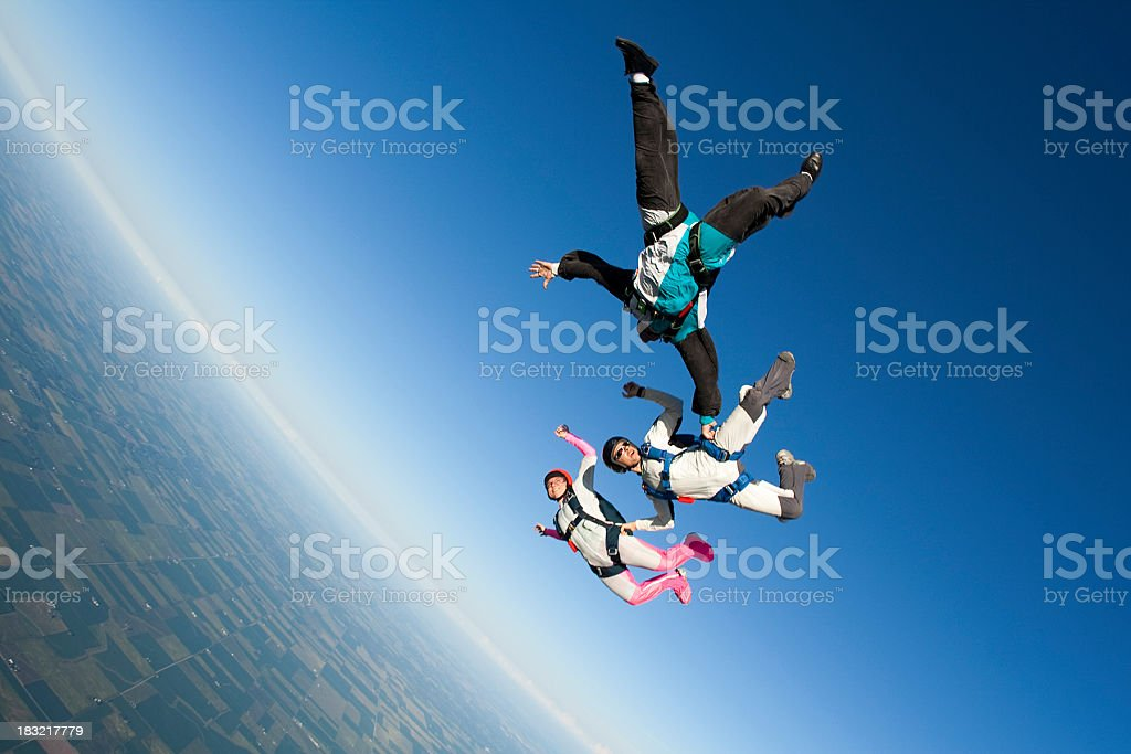 Royalty Free Stock Photo: Three Skydivers In Freefall royalty-free stock photo