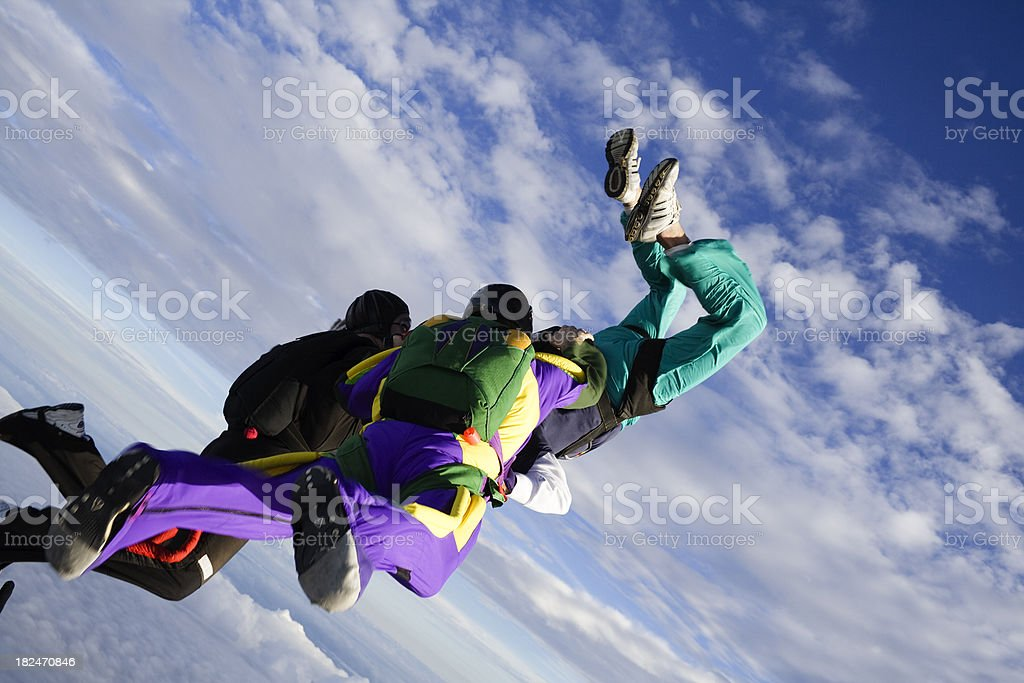 Royalty Free Stock Video: Three Skydivers Freefal Formation stock photo