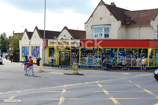 Wroxham, United Kingdom - September 6, 2018: Roys toy shop store, part of the family owned group of stores, multiple people can be seen, Wroxham, Norfolk, UK