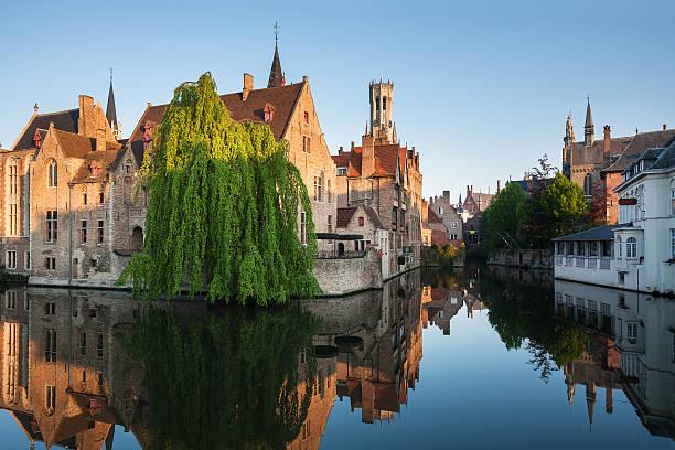 Rozenhoedkaai, Bruges in Belgium stock photo