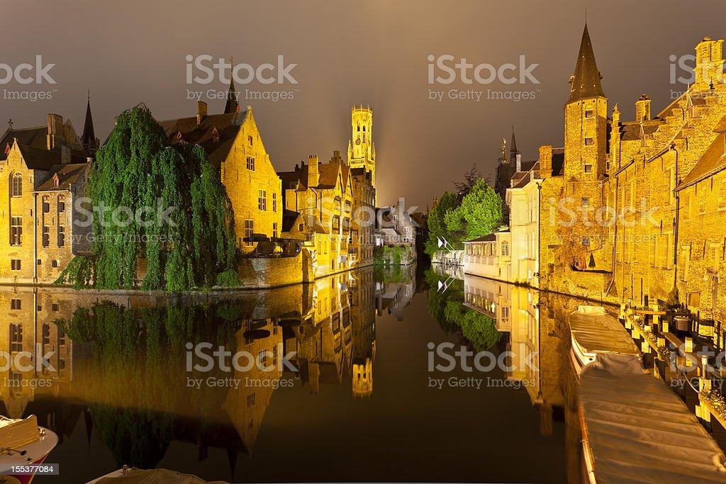 Rozenhoedkaai In Bruges At Night stock photo