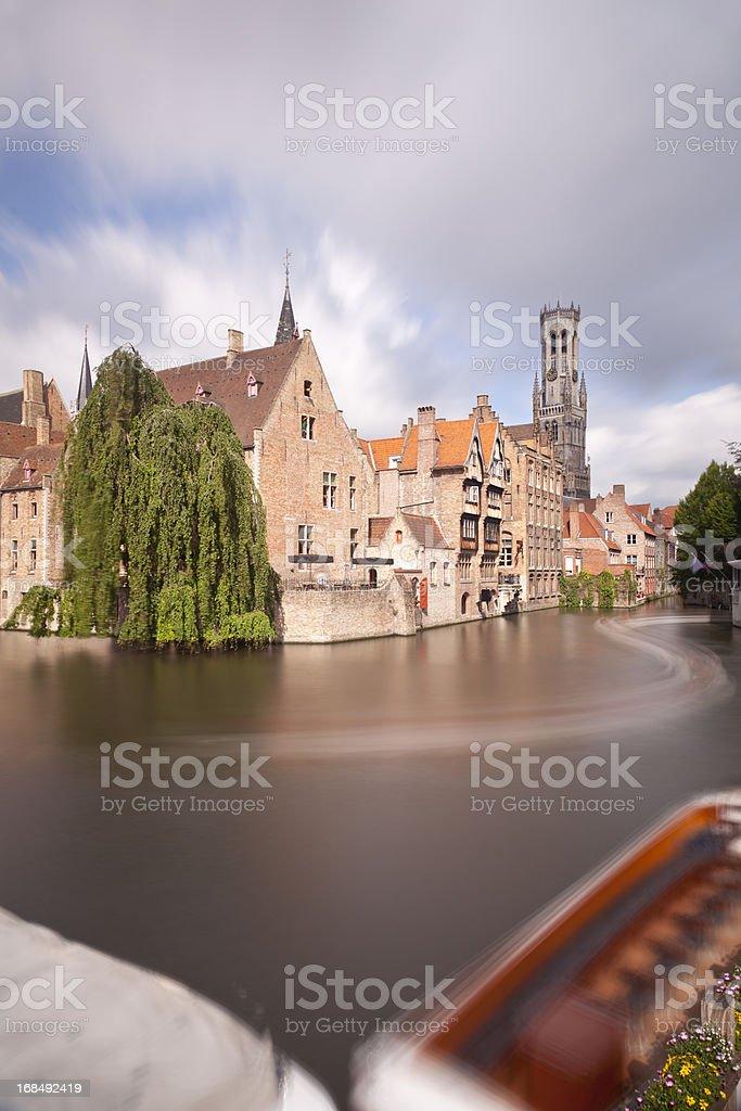 Rozenhoedkaai In Bruges Long Exposure stock photo