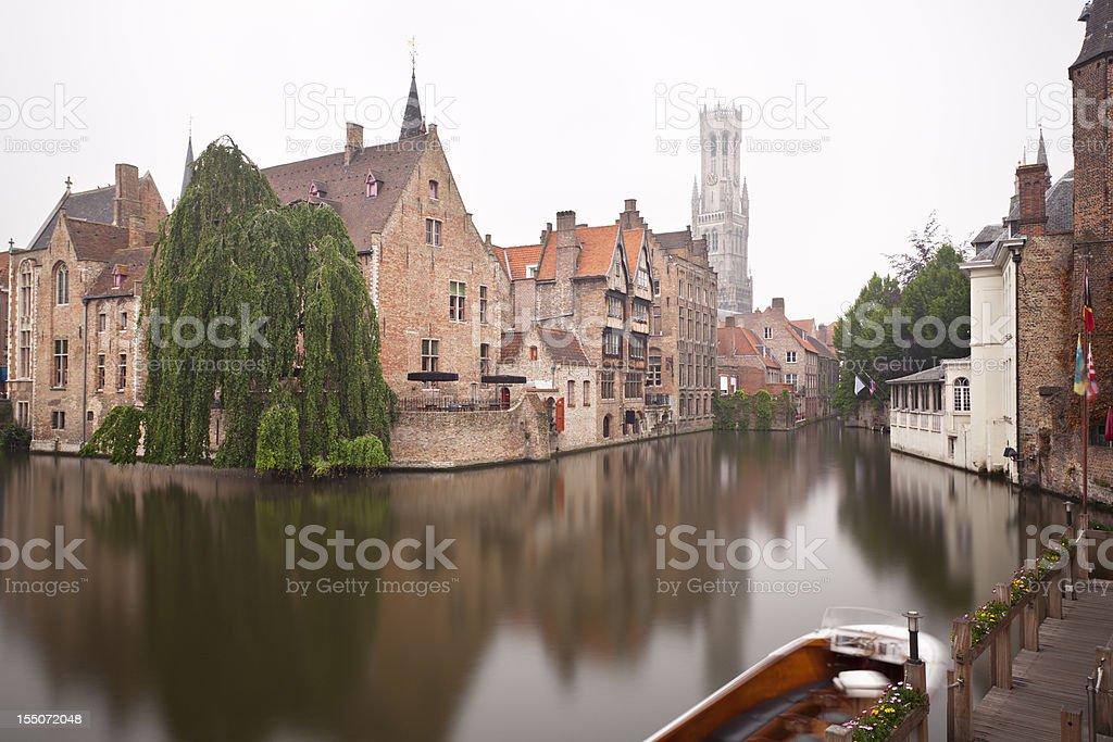 Rozenhoedkaai In Bruges Misty Long Exposure stock photo