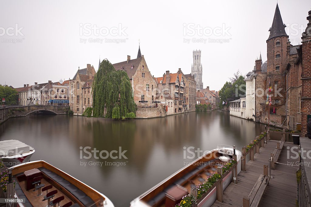 Rozenhoedkaai In Bruges Misty Long Exposure royalty-free stock photo