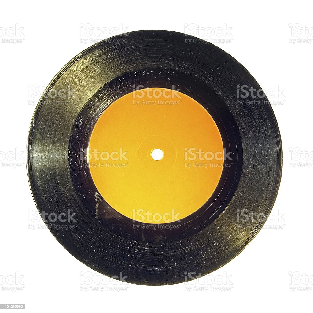 45 rpm Single Vinyl Record with Blank Label royalty-free stock photo