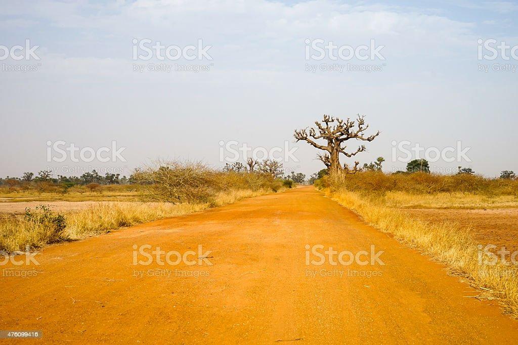 Rred road to Samba Dia stock photo