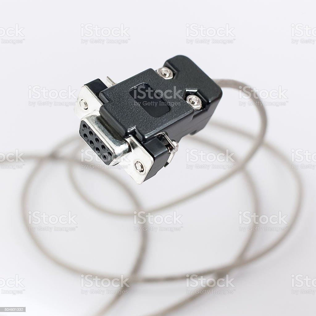 COM rs232 cable on white background stock photo
