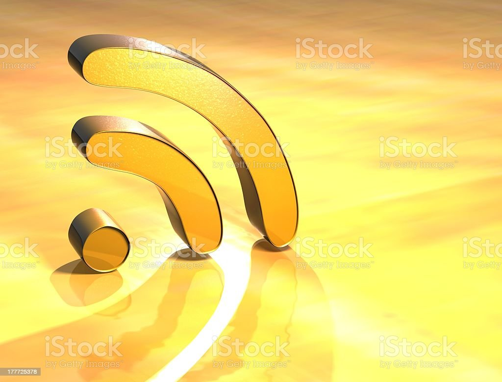 3D Rss Gold Sign stock photo