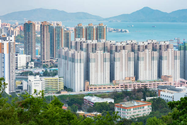 Rssidential district of Hong Kong city Aerial view of Tuen Mun city in Hong Kong new territories stock pictures, royalty-free photos & images