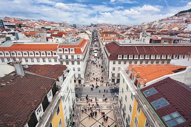 rua augusta i baixa, lizbona - lizbona zdjęcia i obrazy z banku zdjęć