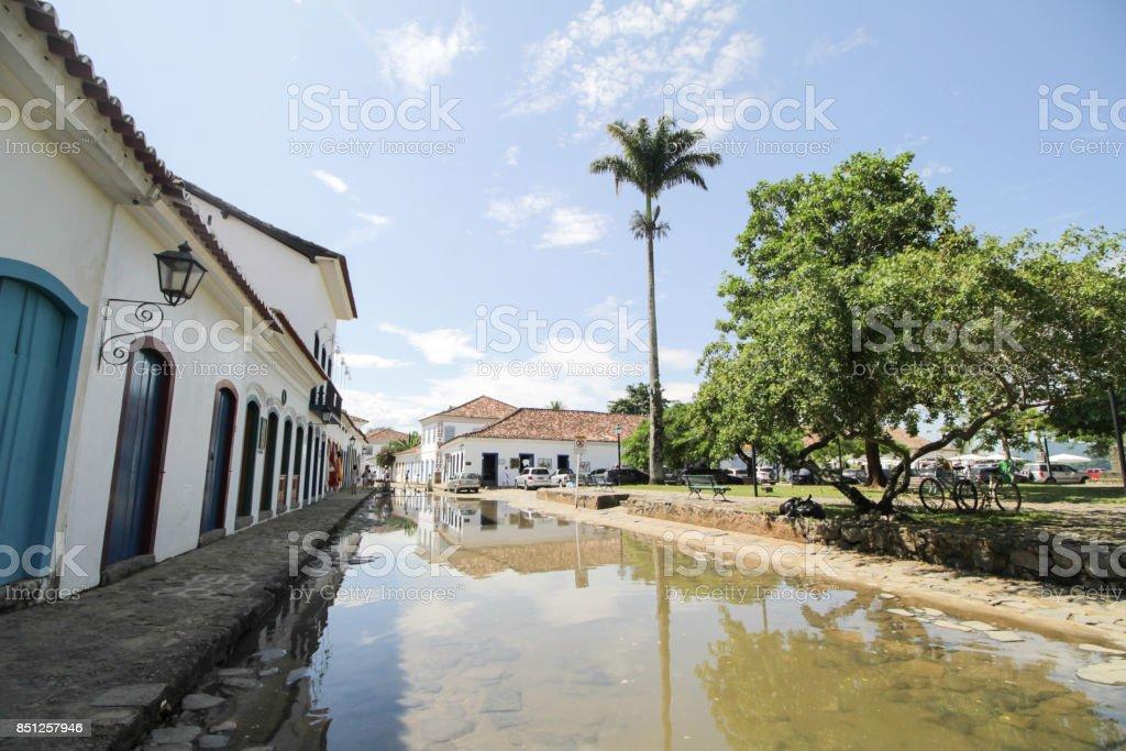 Rua de Paraty alagada stock photo