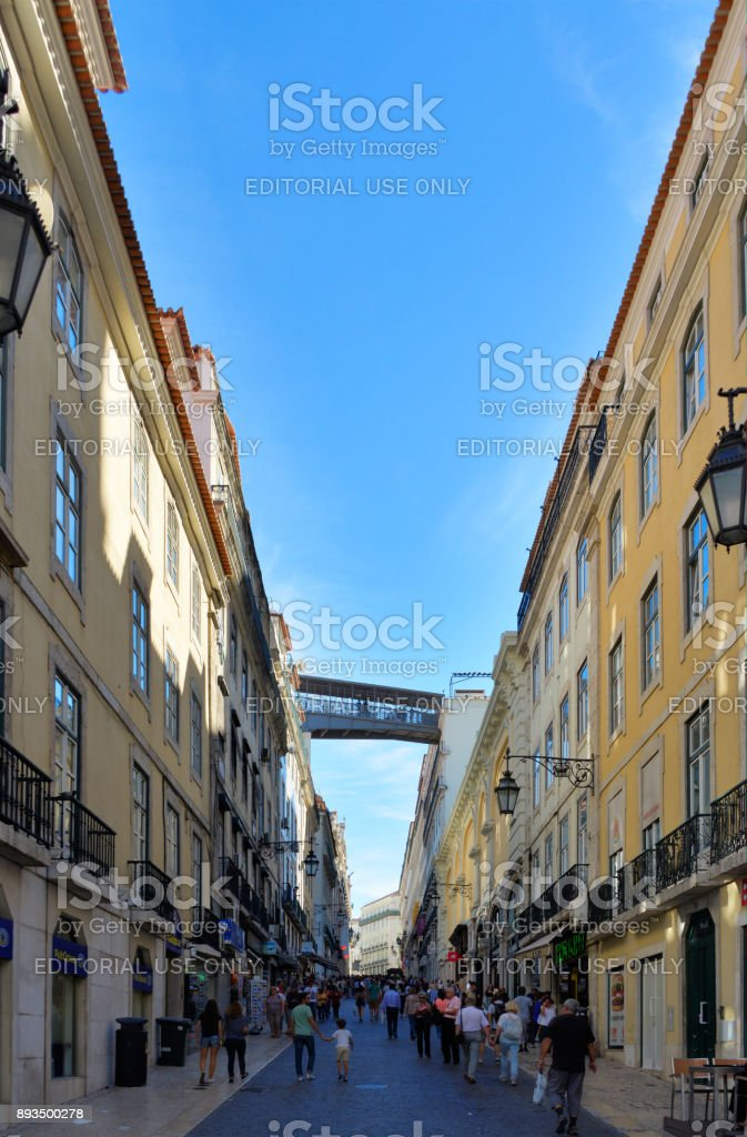 Rua do Carmo - Carmo Street - Lisbon, Portugal stock photo
