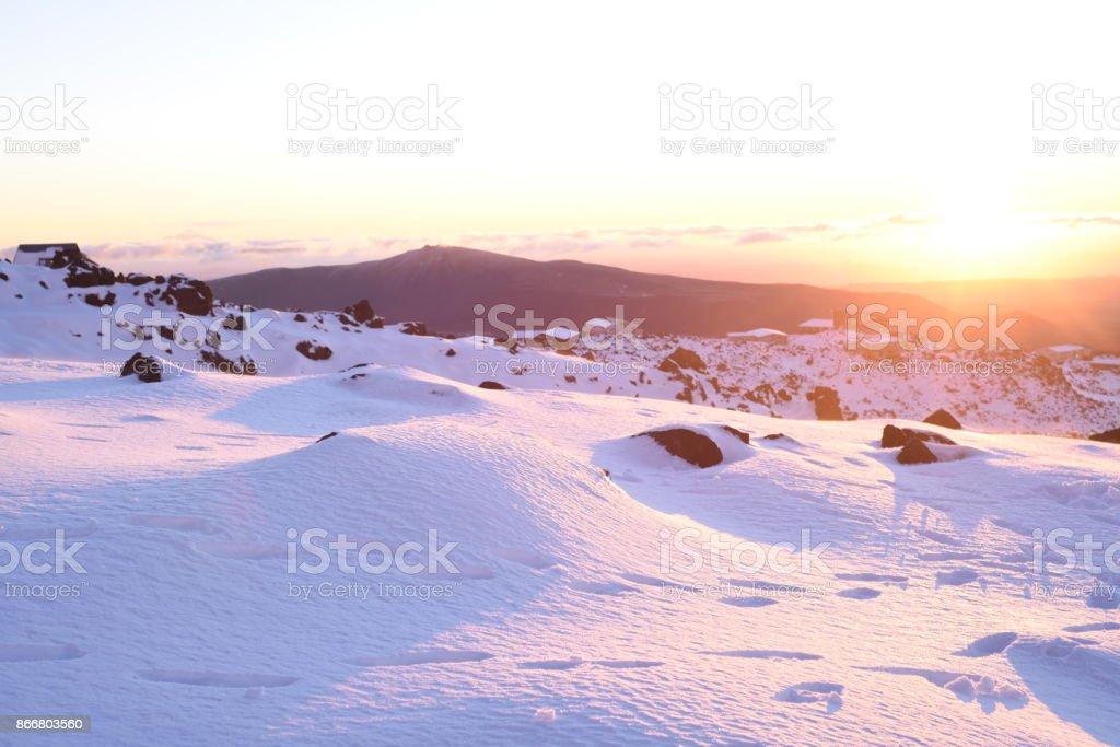 Ruapehu sunset, New Zealand stock photo