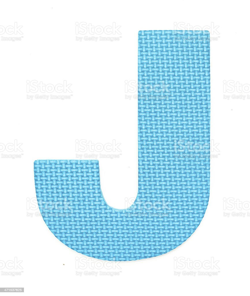 Rubber alphabet J isolated stock photo