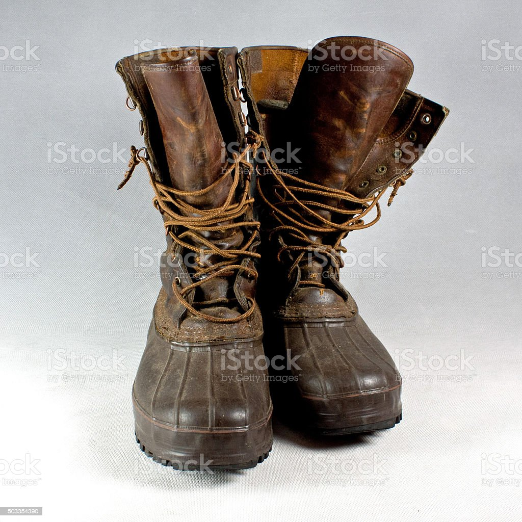 Rubber and Leather Hunting Boots stock photo