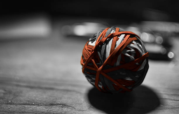 Rubber Band Ball, Black and White - foto stock