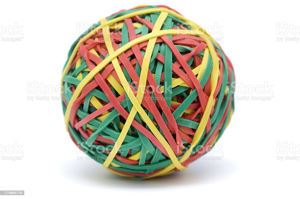 Rubber Band Ball on white royalty-free stock photo