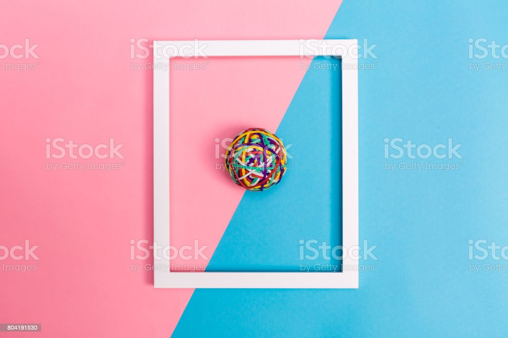 Rubber band ball with frame stock photo