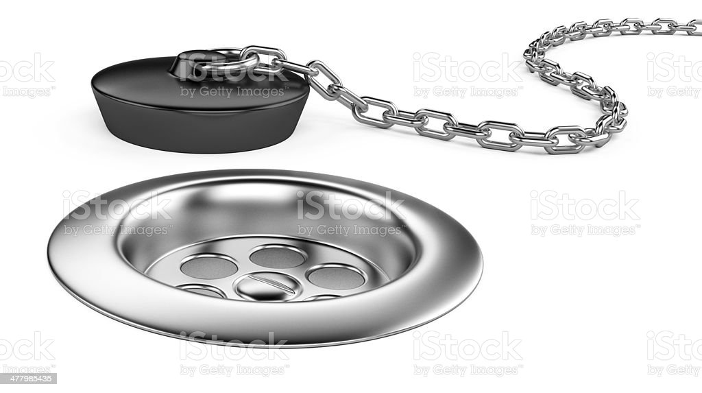 Rubber bath plug and sink stock photo