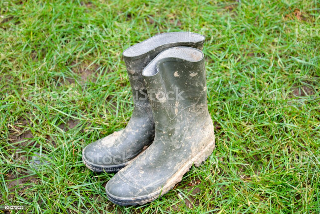 Rubber boots , dirty, ona a green grass stock photo