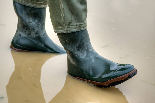 Rubber boots for rainy days. stock photo