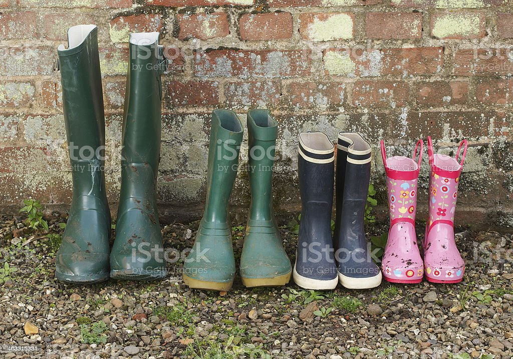Rubber Boots In Row stock photo