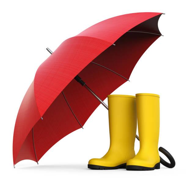 gummistiefel mit regenschirm - wettervorhersage deutschland stock-fotos und bilder