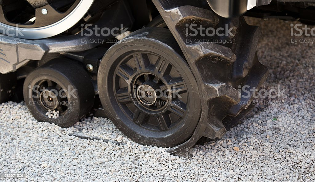 Rubber caterpillar track stock photo