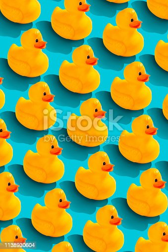 Rubber duckl pattern on color background. From top view