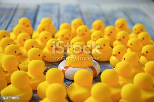 istock Rubber ducks gathering around a duck on a life ring. 605779590