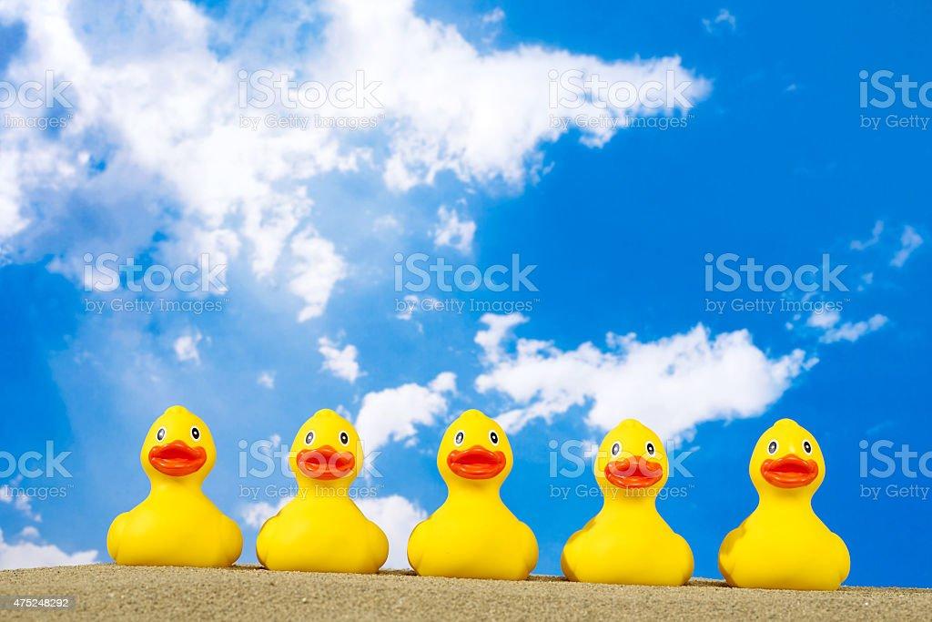Rubber ducks on beach stock photo