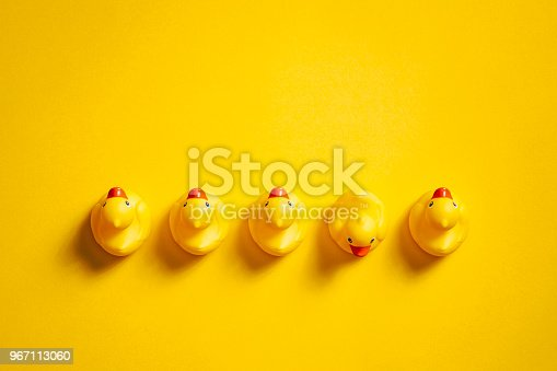 Directly above photography of rubber ducks on a yellow background.