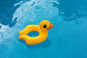 Yellow rubber ducky pool float