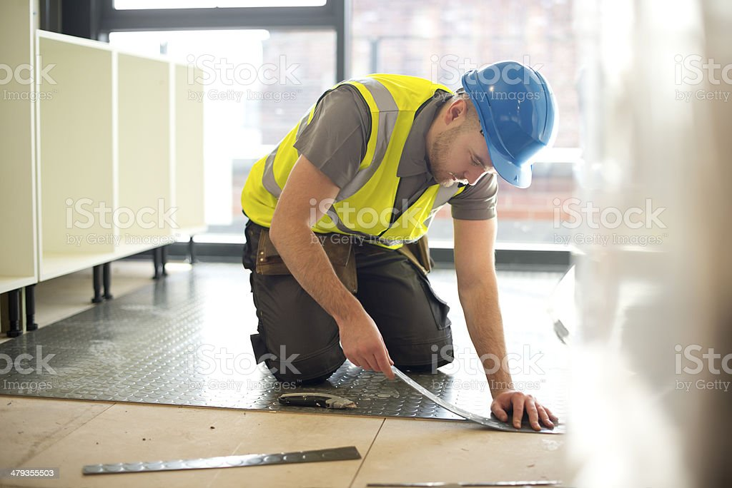 rubber floor installation stock photo