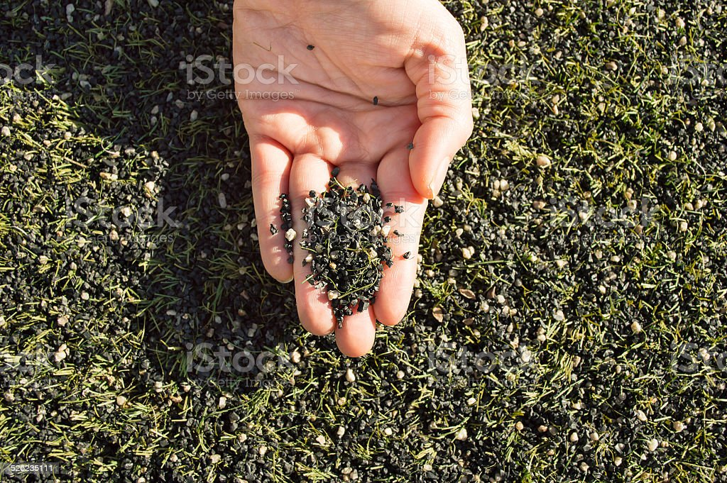 rubber for artificial turf stock photo