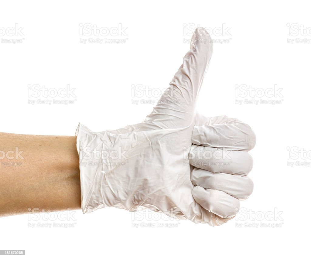 Rubber glove on white background stock photo