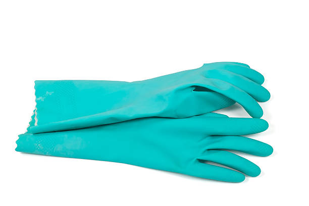 Rubber gloves - blue stock photo