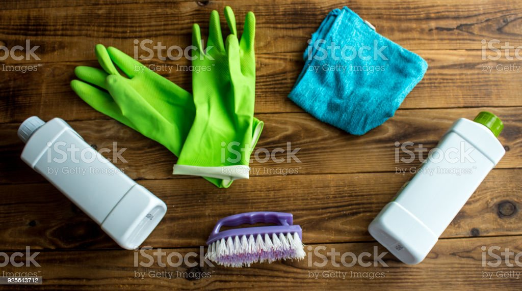 rubber gloves brush duster stock photo